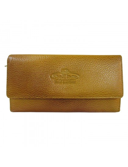 Khadi India Mustard Yellow Leather Wallet For Women
