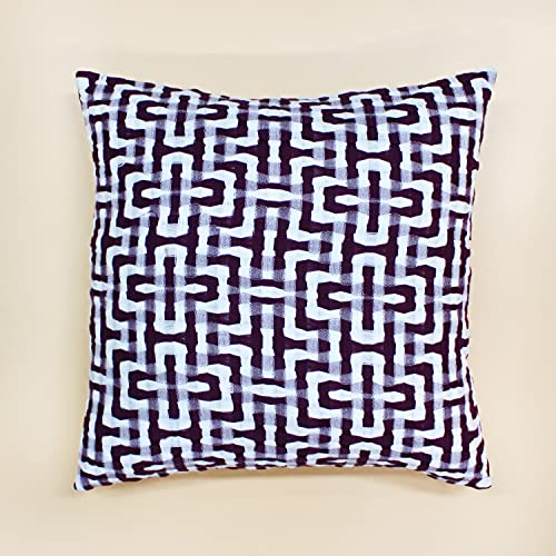 Handwoven Cotton Cushion Cover- Maroon & White