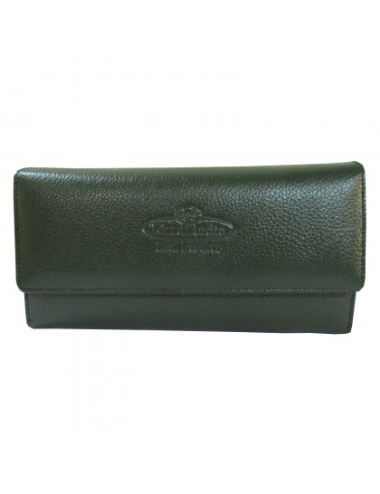 Khadi India Dark Emerald Green Leather Wallet For Women