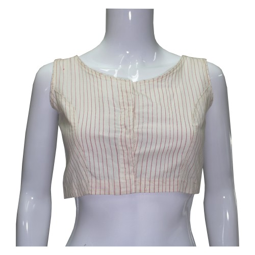 Handwoven Cotton Half Sleeve Blouse Off-White
