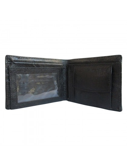 Khadi India Black Leather Bifold  Wallet For Men