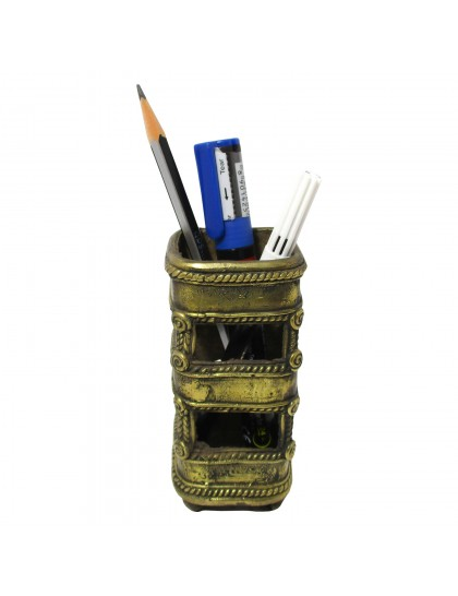 Handmade Brass Dhokra Art Pen Stand - Square Pattern