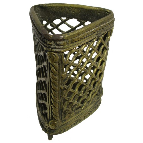 Handmade Brass Dhokra Art Triangle Net Pattern Pen Stand