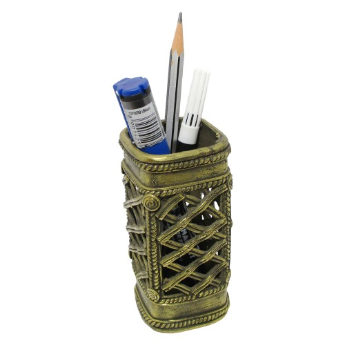 Handmade Brass Dhokra Art Square Net Pattern Pen Stand