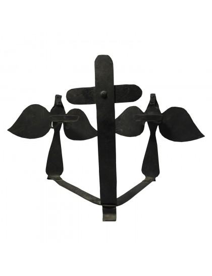 Handmade Wrought Iron Cross And Fairy Candle Stand