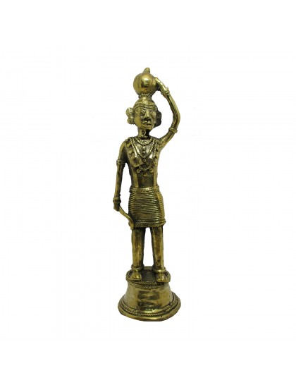 Handmade Brass Bastar Art Figurine - Woman[Madin]