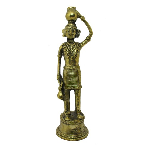 Handmade Brass Dhokra Art Figurine - Woman[Madin]