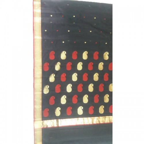 Chanderi Black Silk And Mattress Cotton Saree (Fankar-4)