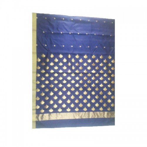 Chanderi Blue Silk And Mattress Cotton Saree (Fankar-5)