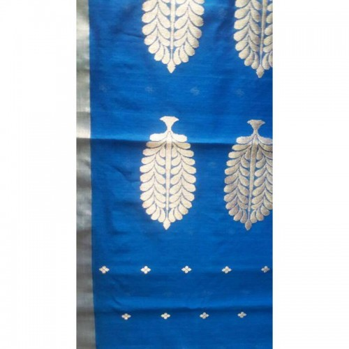 Chanderi Blue Silk And Mattress Cotton Saree (Fankar-7)