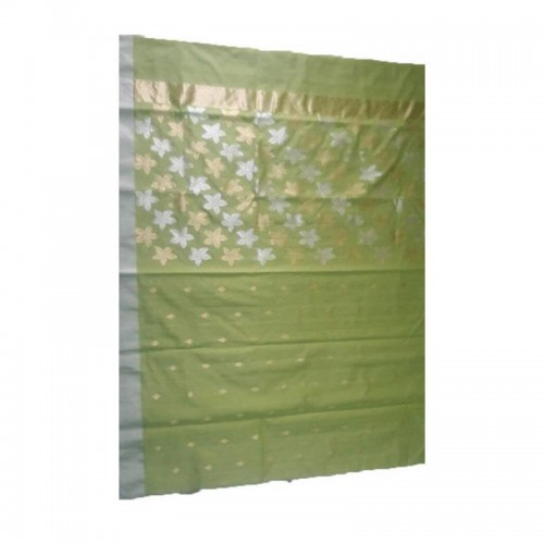 Chanderi Green Silk And Mattress Cotton Saree (Fankar-3)