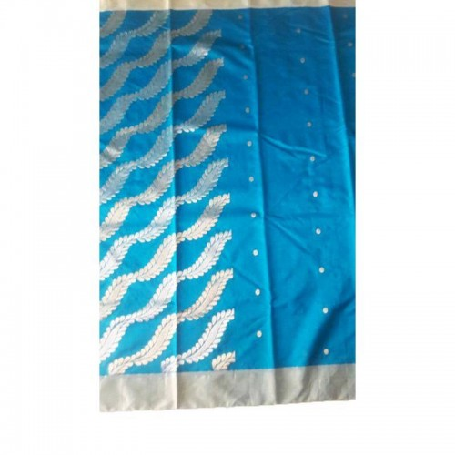 Chanderi Sky Blue Silk And Mattress Cotton Saree (Fankar-2)