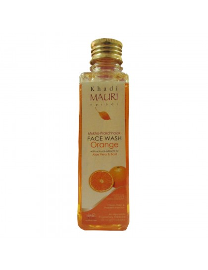 Khadi  India Mauri Herbal Face Wash Orange With Natural Extracts Of Aloe Vera & Basil (250ml)