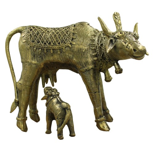 Handmade Brass Dhokra Art Cow & Calf