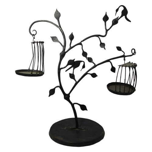 Handmade Wrought Iron Tree and Bird Cage Showpiece/Decorative