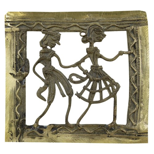 Handmade Brass Dhokra Art Square Wall Hanging/Showpiece-01