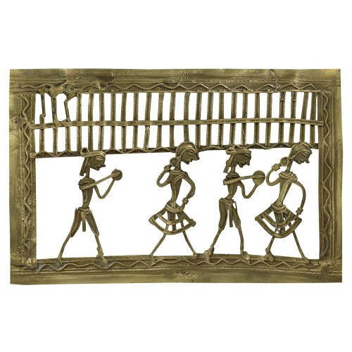 Handmade Brass Dhokra Art Rectangle Wall Hanging/Showpiece