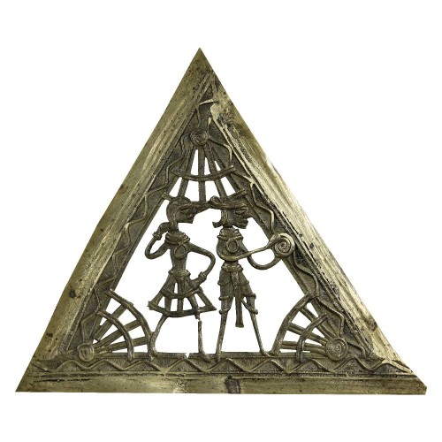 Handmade Brass Dhokra Art Triangle Wall Hanging Showpiece
