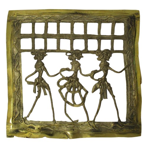 Handmade Brass Dhokra Art Square Wall Hanging/Decor/Showpiece