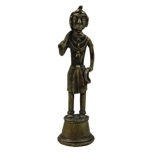 Handmade Brass Dhokra Art Decorative Showpice- Man [Madia] Working 06