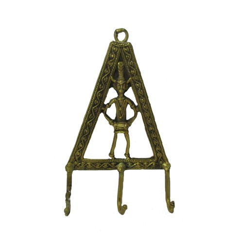 Handmade Brass Dhokra Art Man [Madia] Key Holder