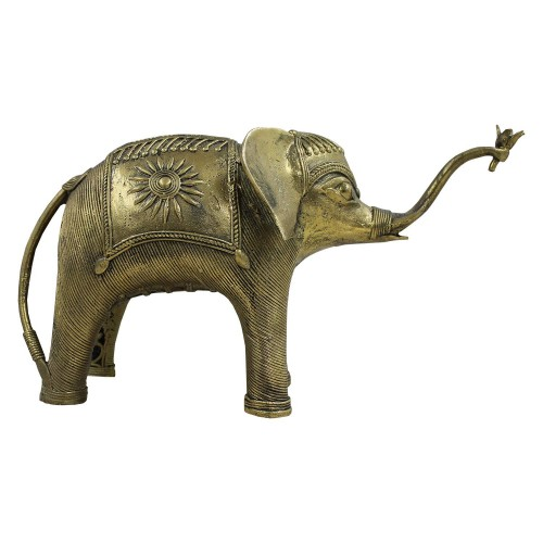 Handmade Brass Dhokra Art Decorative Elephant Showpiece 02