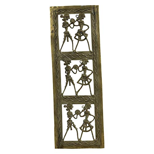 Handmade Brass Dhokra Art Rectangle Jali Wall Hanging/Decor/Showpiece