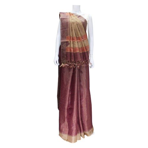 Handwoven Brown Kosa Silk Saree With Blouse Piece