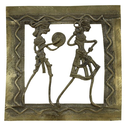 Handmade Brass Dhokra Art Square Jali Wall Hanging/Decor/Showpiece