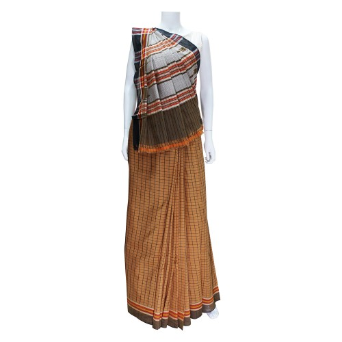 Handwoven Brown Shaded Cotton Saree With Blouse Piece 02
