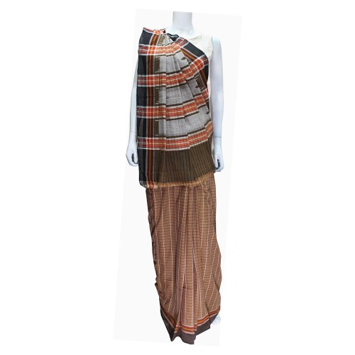Handwoven Brown Shaded Cotton Saree With Blouse Piece 01