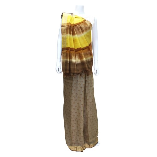 Handwoven Brown Shaded Silk Saree With Blouse Piece