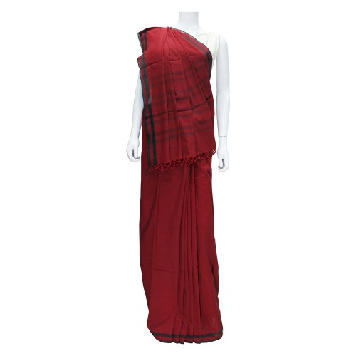 Handwoven Dark Red Cotton Saree With Blouse Piece