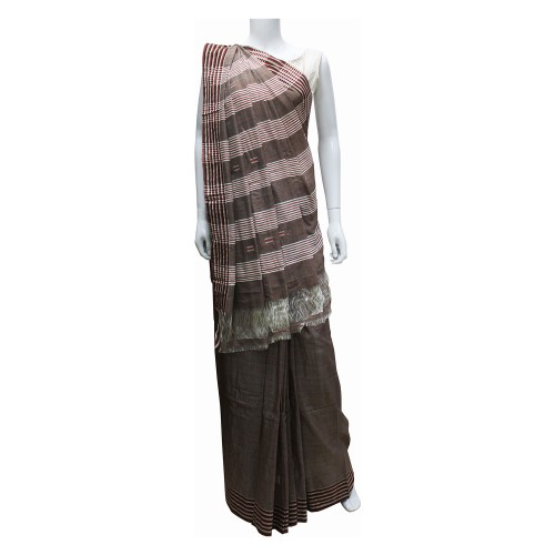 Handwoven Brown Shade Cotton Saree With Blouse Piece