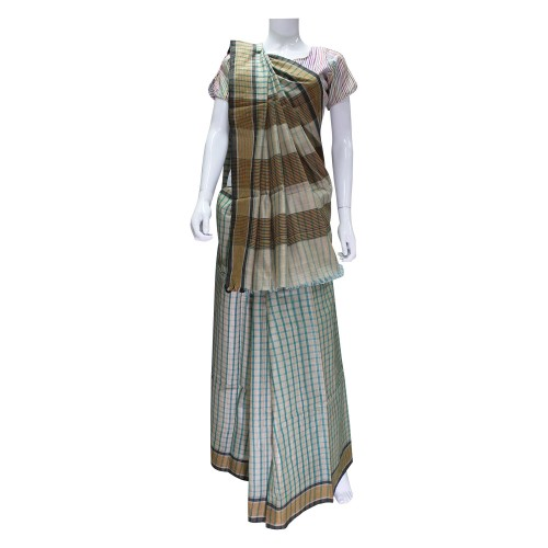 Handwoven Cream & Green Kosa Silk Saree With Blouse Piece