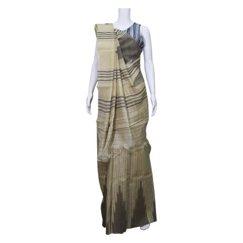 Handwoven Cream & Brown Shaded Silk Saree With Blouse Piece