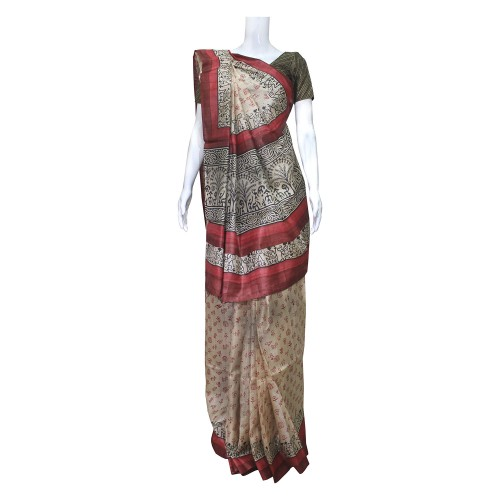 Handwoven Cream & Multicolor Kosa Silk Saree With Blouse Piece - 02