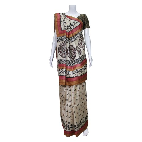 Handwoven Cream & Multicolor Kosa Silk Saree With Blouse Piece