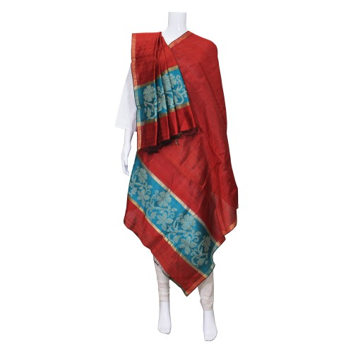 Handwoven Silk Dupatta With Intricate Motifs - Maroon & Sky Blue