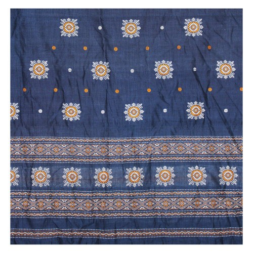 Handwoven Pure Cotton Navy Blue & Turmeric Shaded Dress Material / Salwar Suit