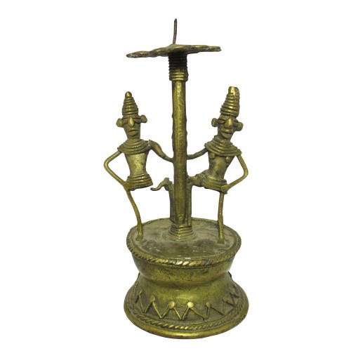 Handmade Brass Dhokra Art Man & Woman Candle Stand