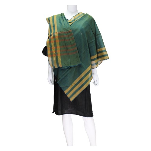 Handwoven Cotton Dupatta - Dark Green