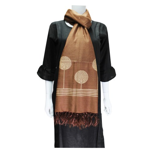 Handwoven Silk Dupatta With Intricate Motifs - Brown