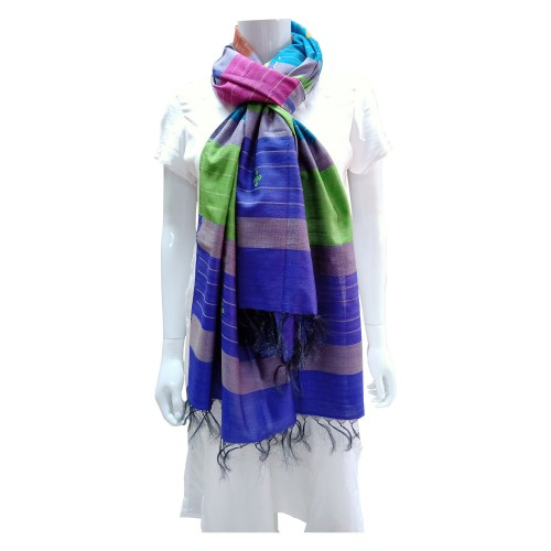 Handwoven Silk Dupatta With Intricate Motifs - Multicolor