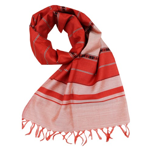 Handwoven Silk Dupatta With Intricate Motifs - Red