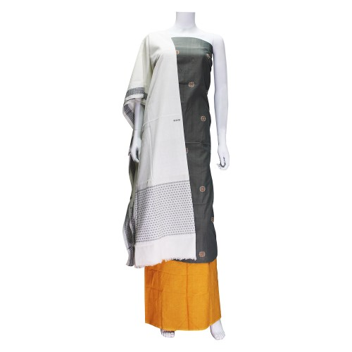 Handwoven Pure Cotton Grey & Turmeric Shaded Dress Material/Salwar Suit