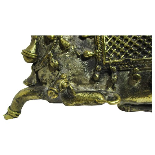 Handmade Brass Dhokra Art Cow & Calf Decorative Showpiece