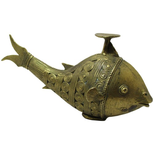 Handmade Brass Dhokra Art Fish Candle Stand