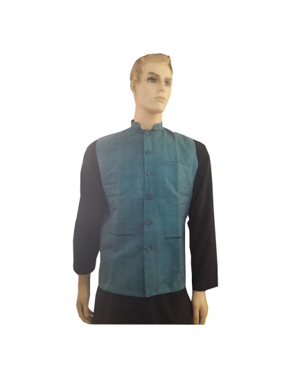 Khadi India Cotton Jacket Ethnic Style For Party Wear (Blue)