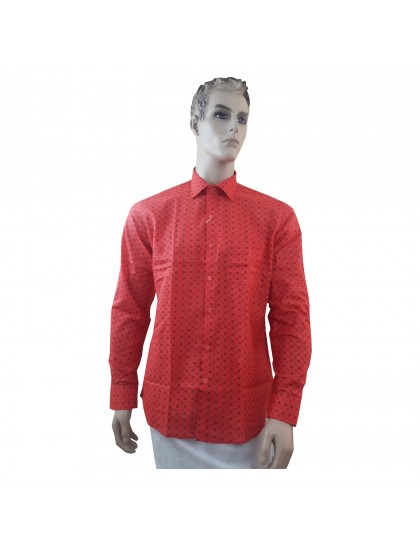 Khadi India Dot Printed Cotton Silk Regular Formal Shirt (Size-42)